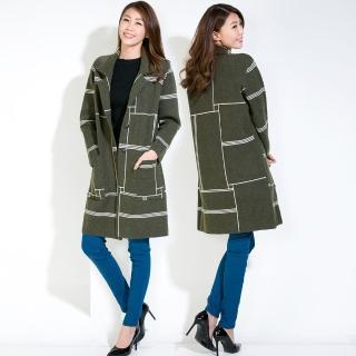 【雪莉亞】RH雪莉亞韓系毛呢長板大衣(毛呢長板大衣不規則對比線條)