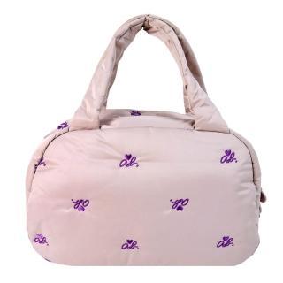 【agnes b.】ab heart 刺繡舖棉波士頓包(粉紫)