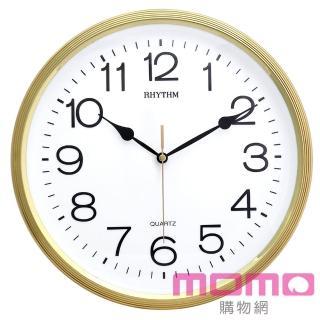 【RHYTHM 麗聲】簡約時尚金屬色系邊框超靜音掛鐘(閃耀金)