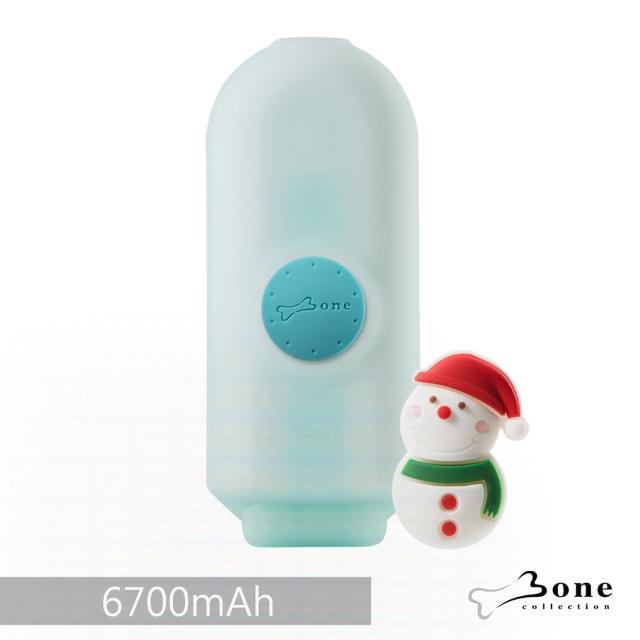 【BONE】聰明立架逗扣行動電源 6700mAh - 藍色(附雪人逗扣 無毒矽膠認證)