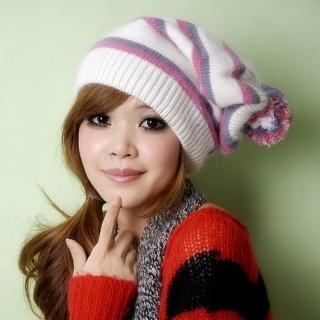【Lady c.c.】保暖隨搭經典條紋毛帽(白)