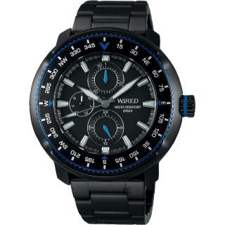 【WIRED】SOLIDITY 復古軍用200米日曆錶-鍍黑/44mm(VH67-KHC0SD  AY8036X1)