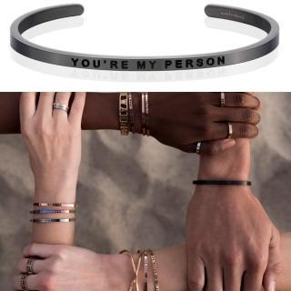 【MANTRABAND】美國悄悄話手環 You are my person 你是我要的 新款灰銀手環(悄悄話手環)