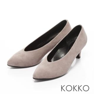 【KOKKO集團】復古雅緻尖頭深V羊麂皮高跟鞋(灰)