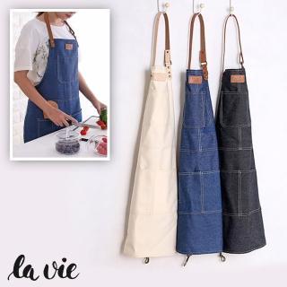 【La Vie】北歐風工業風時尚牛仔圍裙(三色可選)