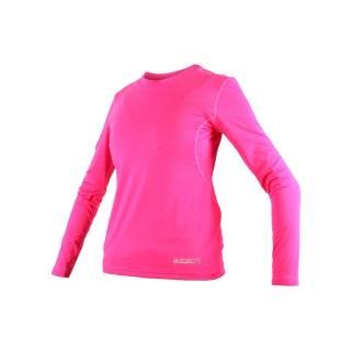 【FIRESTAR】女機能緊身長袖-T恤 長T 健身 瑜珈 螢光粉(NL708-45)