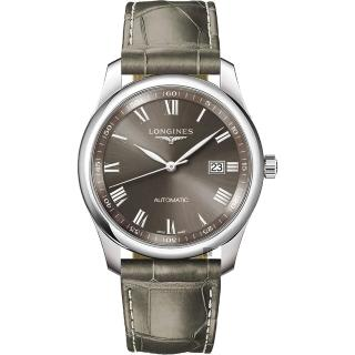 【LONGINES 浪琴】Master 巨擘系列羅馬機械錶-軍綠/39mm(L27934713)