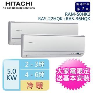 【送好禮★HITACHI日立】3-5坪+5-7坪 一對二變頻壁掛分離式冷暖冷氣(RAM-50HK1/RAS-22HK1+RAS-36HK1)