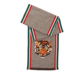 【GUCCI 古馳】老虎頭立體刺繡羊毛/CASHMERE圍巾(多色)