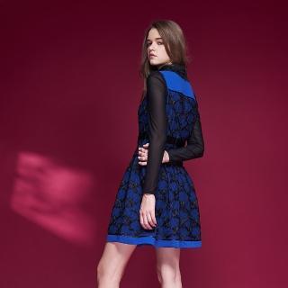 【ICHE 衣哲】精緻設計款3D蕾絲雕花拼接造型禮服洋裝-藍