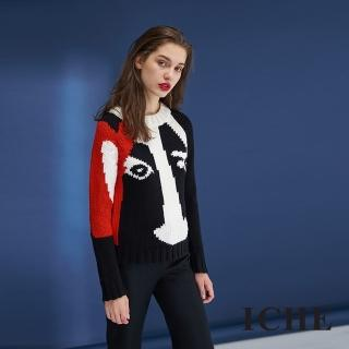 【ICHE 衣哲】時尚設計款印花羊毛針織造型上衣-黑