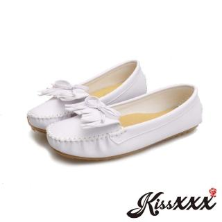 【KissXXX】MIT足弓機能厚乳膠真皮墊小蝴蝶結流蘇莫卡辛豆豆鞋(白)