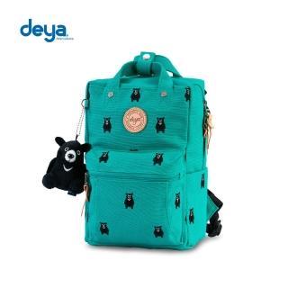 【deya】熊森林系刺繡帆布小後背包-綠色
