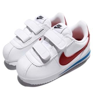 【NIKE 耐吉】Cortez Basic SL TDV 童鞋 阿甘鞋 低筒 魔鬼氈 百搭 穿搭推薦 白 紅(904769-103)