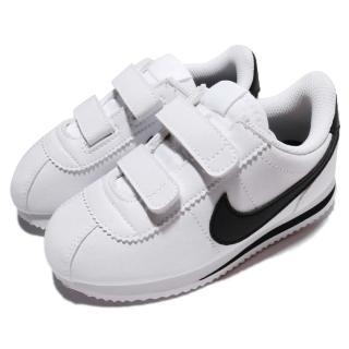 【NIKE 耐吉】Cortez Basic SL TDV 童鞋 低筒 阿甘鞋 魔鬼氈 復古 推薦 女 白 黑(904769-102)