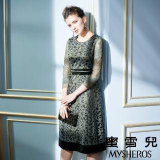 【mysheros 蜜雪兒】蕾絲金蔥網格宴會洋裝(綠)
