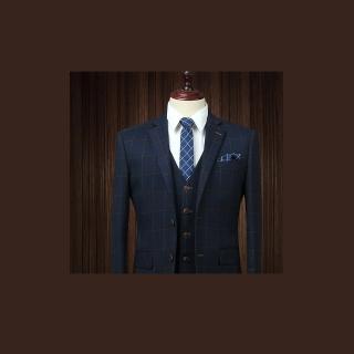 【拉福】領帶6cm中窄版領帶拉鍊領帶(格紋藍)