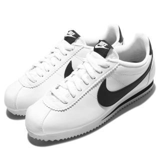 【NIKE 耐吉】休閒鞋 Classic Cortez 男女鞋 阿甘鞋 低筒 情侶鞋 復古 球鞋穿搭 白 黑(807471-101)