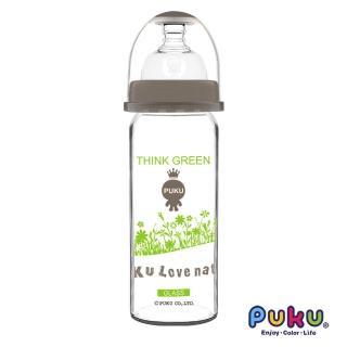 【PUKU 藍色企鵝】自然晶透寬口玻璃奶瓶280ml