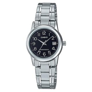 【CASIO 卡西歐】指針女錶 不鏽鋼錶帶  防水 日期顯示(LTP-V002D-1B)
