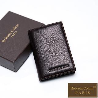 【Roberta Colum】牛皮鱷魚紋時尚名片夾-共2色
