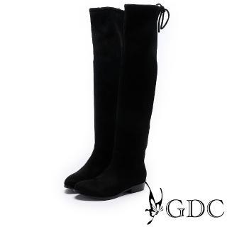 【GDC】秋冬基本款後綁帶布面過膝膝上長靴-黑色(728586)