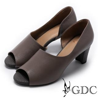 【GDC】都會質感羊皮溫柔造型魚口鞋-灰色(721834)