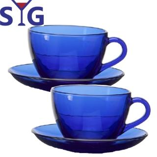 【SYG 台玻】藍色玻璃咖啡杯盤組235cc(二套組)