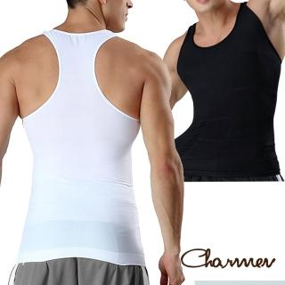 【Charmen】工字型交叉挺背束胸背心 男性塑身衣(2色任選)