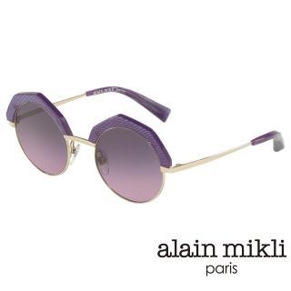 【alain mikli 法式巴黎】捌零復古藝術八邊型眉框金屬太陽眼鏡(Ultra Violet紫外光 AL4006-003)