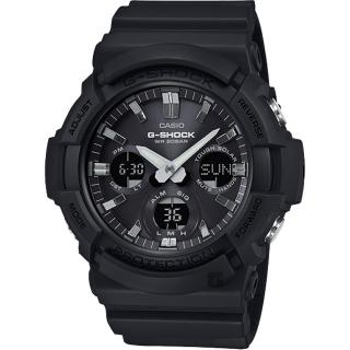 【CASIO 卡西歐】G-SHOCK 太陽能雙顯手錶-黑(GAS-100B-1A)