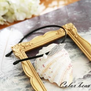 【卡樂熊】韓版空靈樹葉珍珠細版髮箍(空靈銀)