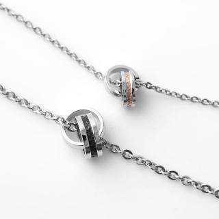 【玖飾時尚】鋼製雙環經典格紋對鍊(項鍊)