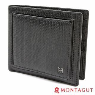 【MONTAGUT 夢特嬌】古典幾何紋頭層牛皮真皮短夾(9卡1窗2夾1零)