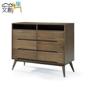 【文創集】樂夫    時尚3.8尺木紋六斗櫃/收納櫃