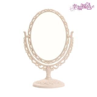 【幸福揚邑】歐式麥稈化妝鏡旋轉放大雙面桌鏡(橢圓米)