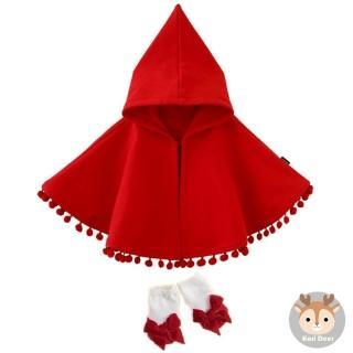 【日安朵朵】女嬰配件禮盒 - 小紅帽(披肩+寶寶襪)
