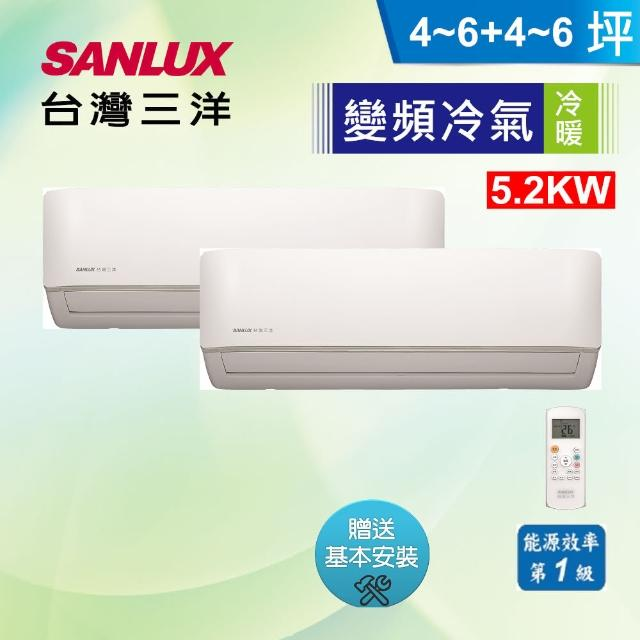 【SANLUX 台灣三洋】4-6坪*2一對二冷暖分離式(SAC-BV52HF+SAE-V28HF*2)