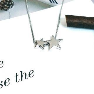 【DoriAN】手作純銀 立體雙子星星925純銀項鍊(附精美包裝組合 純銀保證卡)