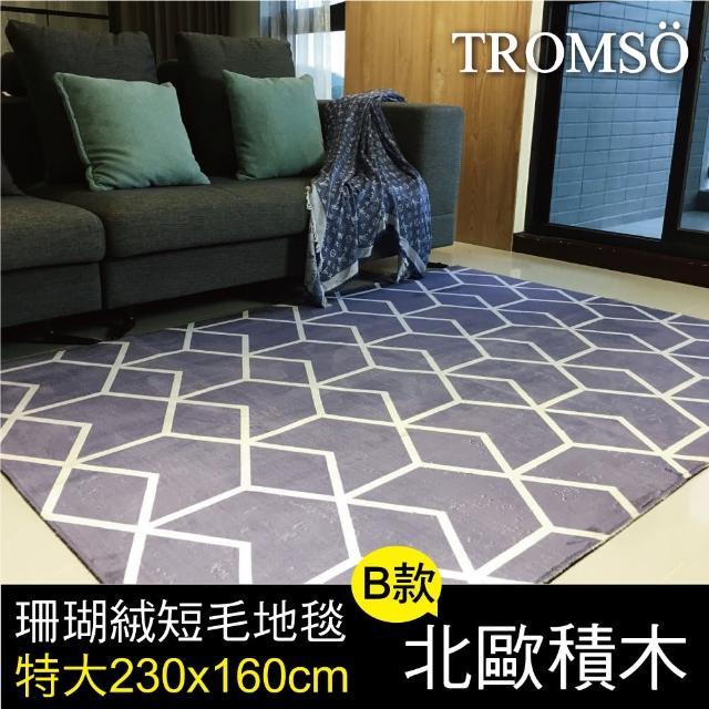 【TROMSO】珊瑚絨短毛地毯-特大B北歐積木230x160cm(短毛地毯)/