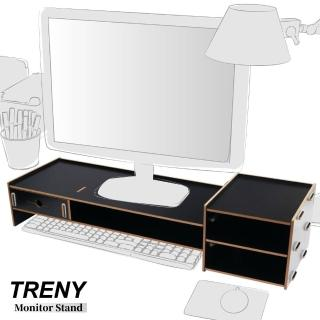 【TRENY】加厚---加長---電腦螢幕增高架-黑(螢幕架 鍵盤架)
