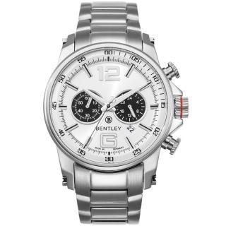【Bentley 賓利】Veneur系列 紳裝狩獵者計時手錶(白/銀 BL1694-20000)