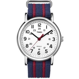 【TIMEX】天美時 經典復刻冷光Weekender系列手錶(白色面/藍間紅色帆布帶 TXT2N747)