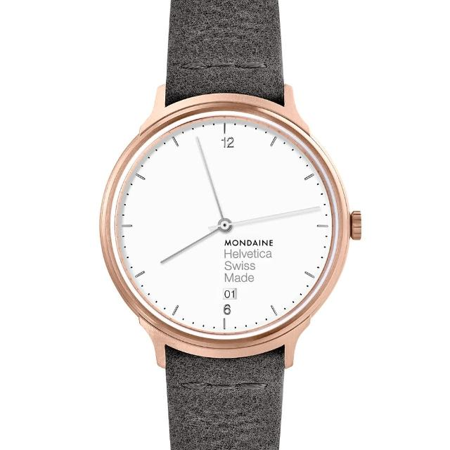 【MONDAINE 瑞士國鐵】瑞士國鐵Helvetica Light限量玫瑰金腕錶-38mm(泥炭灰)