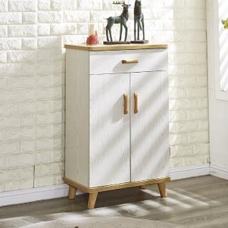 【AT HOME】北歐時尚2尺白木紋二門單抽鞋櫃(60x33x95cm)