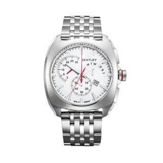 【Bentley 賓利】Solstice系列 黑暗紳士計時手錶(白面/銀色鋼帶 BL1681-60000)