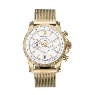 【Bentley 賓利】RACING系列 競速美學計時手錶(白面/金色鋼帶 BL1694-20KWI-M)