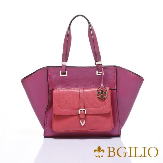 【義大利BGilio】十字紋牛皮雙色知性大方肩背包-活動可拆式小包-桃紅色(1965.001-14)