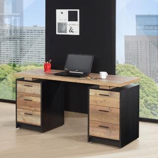 【AT HOME】工業風5尺仿舊厚切木紋收納書桌/電腦桌/工作桌(150x60x76cm)