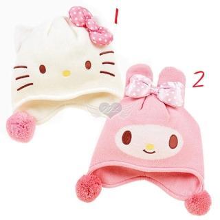 【TDL】HELLO KITTY美樂蒂兒童帽子針織帽子保暖帽2選1 10620960(適合頭圍約50-54cm)